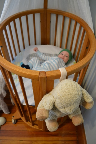 "here it is as a bassinet, the Stokke Sleepi ""mini"""