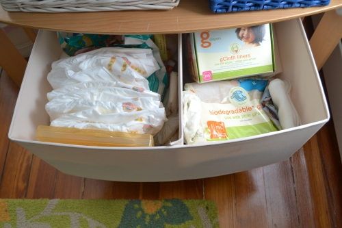 "the bottom drawer holds diaper ""stuff"""