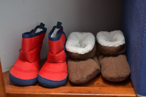 """winter boots"" and fuzzy warm booties, both from Old Navy for $5"