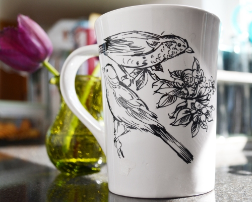 morning coffee in a bird mug (I love pretty mugs and I love things with birds)