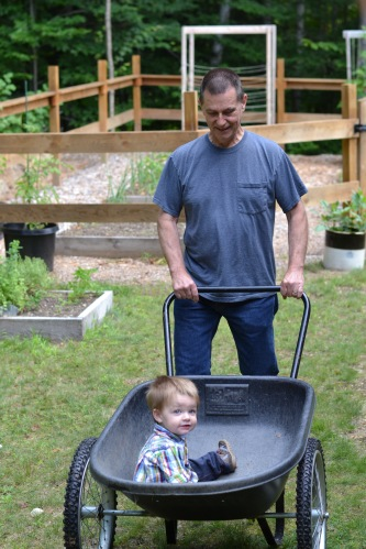 garden baby with Papa