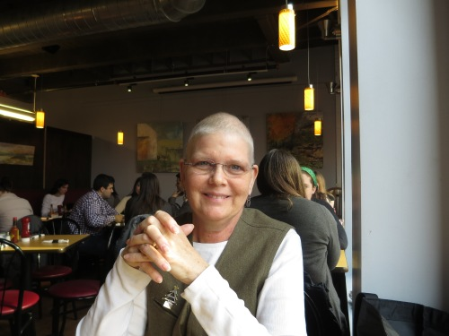 My beautiful mom at Trident Cafe in Boston.