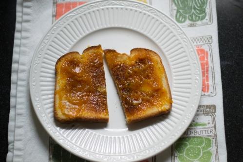 peach jam on toast